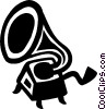 Vector Clip Art image  of a phonograph