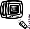 Vector Clipart picture  of a television with remote control