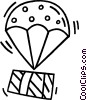 Vector Clipart image  of a parachute with a present