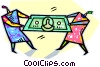 Vector Clip Art graphic  of a people fighting over money