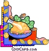 Vector Clipart image  of a Thanksgiving dinner