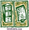 Vector Clipart picture  of a filing cabinet and file