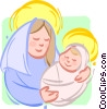 Vector Clipart illustration  of a mother Mary with baby Jesus
