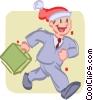 Man walking to work at Christmas time Vector Clip Art picture