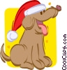 Vector Clip Art graphic  of a puppy wearing a Christmas hat