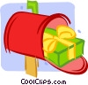 Christmas gift in a mailbox Vector Clipart picture