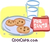 plate of chocolate chip cookies for Santa Vector Clipart illustration