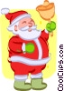 Vector Clip Art graphic  of a Santa with a Christmas bell