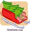 tree in a sled Vector Clipart picture