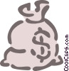 Vector Clip Art graphic  of a bag of money
