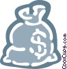 Vector Clip Art image  of a bag of money