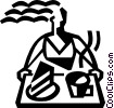Vector Clip Art graphic  of a waitress with a serving tray