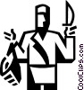 Vector Clip Art image  of a butcher holding a piece of meat