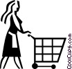 Vector Clipart image  of a woman pushing a grocery cart