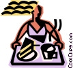 waitress with a serving tray Vector Clip Art picture