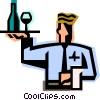 waiter with a serving tray Vector Clipart image