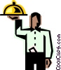 waiter with a serving tray Vector Clipart graphic