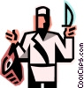 Vector Clipart illustration  of a butcher holding a piece of meat