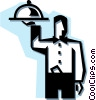 waiter with a serving tray Vector Clip Art image