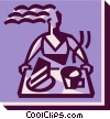waitress with a serving tray Vector Clip Art graphic
