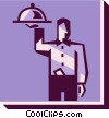 Vector Clipart image  of a waiter with a serving tray