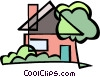 Vector Clipart illustration  of a single family home