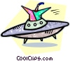 Vector Clip Art graphic  of an alien and ufo