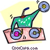 Vector Clip Art graphic  of a disc jockey playing music
