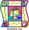 computer a mouse, CD, and diskette Vector Clip Art picture