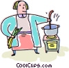 cook cooking on a stove Vector Clipart picture