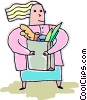 Vector Clip Art graphic  of a woman with groceries