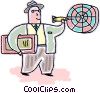 Man playing darts Vector Clipart picture