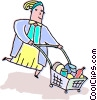 Vector Clip Art graphic  of a woman grocery shopping