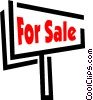 Vector Clipart graphic  of a For sale sign