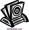 Vector Clip Art image  of a CD rom holder with CD's
