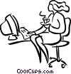 woman having a cup of coffee at her desk Vector Clipart image