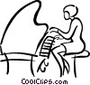 Vector Clip Art picture  of a woman playing a piano