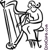 Vector Clip Art graphic  of a harpist