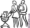 Vector Clipart graphic  of a couple grocery shopping