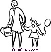 Vector Clipart graphic  of a woman with a child