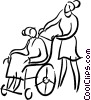 nurse with a person in a wheelchair Vector Clip Art picture