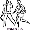 couple talking and walking Vector Clip Art image