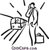 Vector Clipart image  of a waiting at the subway station