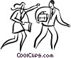 Vector Clipart illustration  of a couple in a hurry