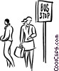 people waiting at the bus stop Vector Clip Art image