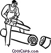 Vector Clipart illustration  of a man with a chainsaw
