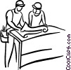 construction foremen looking at blueprints Vector Clipart graphic