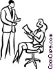 Vector Clipart image  of a supervisor giving instructions