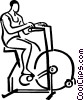 person riding a stationary bike Vector Clip Art image