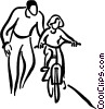 Little girl learning to ride a bicycle Vector Clipart picture